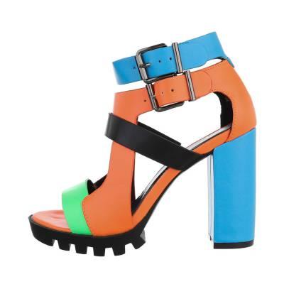 High Heel Sandaletten für Damen in Blau und Orange