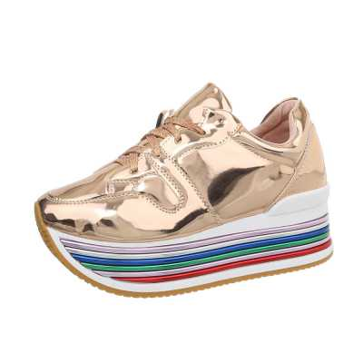 Sneakers low für Damen in Gold und Rosa