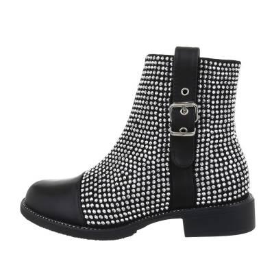 Klassische Stiefeletten für Damen in Schwarz und Silber