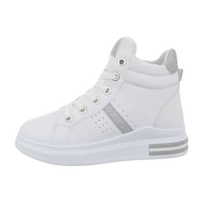 Sneakers high für Damen in Weiß und Silber