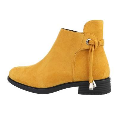 Flache Stiefeletten für Damen in Gelb