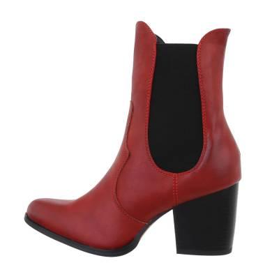 High Heel Stiefeletten für Damen in Rot und Schwarz