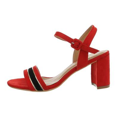 High Heel Sandaletten für Damen in Rot und Schwarz