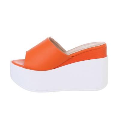 Keilsandaletten für Damen in Orange und Weiß