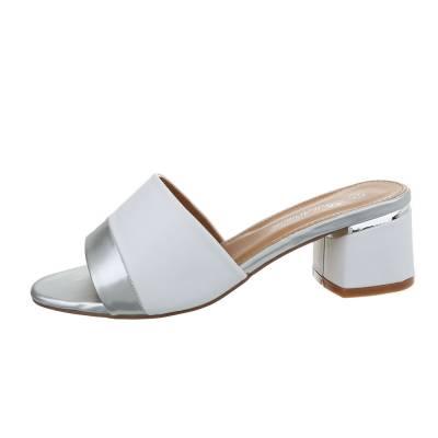 Pantoletten für Damen in Weiß und Silber