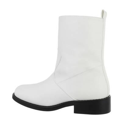 Flache Stiefeletten für Damen in Weiß