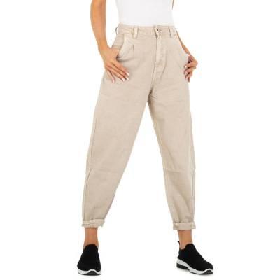 Relaxed Fit Jeans für Damen in Beige