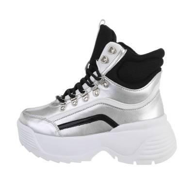 Sneakers high für Damen in Silber und Schwarz