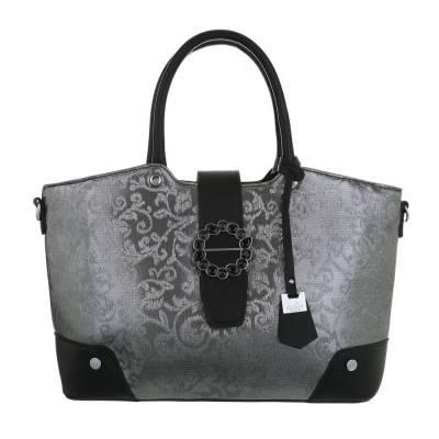 Große Damen Tasche Schwarz Silber