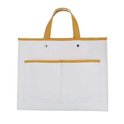Mittelgroße Damen Tasche Weiß Gelb
