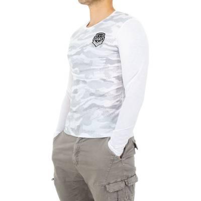 Motivdruck Langarm Herren T-Shirt Weiß