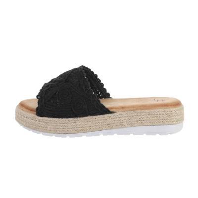 Plateausandaletten für Damen in Schwarz