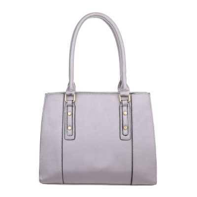 Mittelgroße Damen Tasche Grau Lila