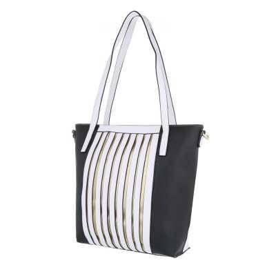 Mittelgroße Damen Tasche Weiß Schwarz