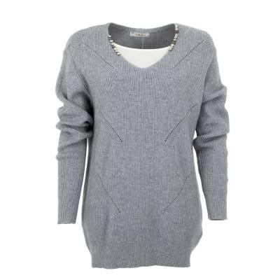 Longpullover für Damen in Grau