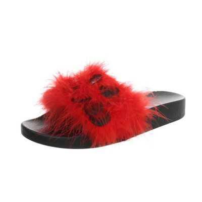 Pantoletten für Damen in Rot und Schwarz