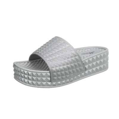 Plateausandaletten für Damen in Grau und Silber