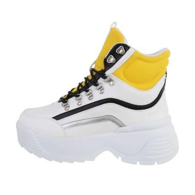 Sneakers high für Damen in Weiß und Gelb