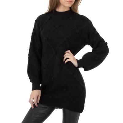 Longpullover für Damen in Schwarz