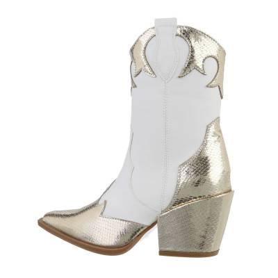 High Heel Stiefeletten für Damen in Weiß und Gold