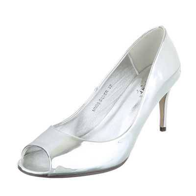 Peeptoes für Damen in Silber