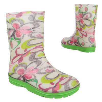 Mädchen Kinder Gummi Stiefel Grün Rosa