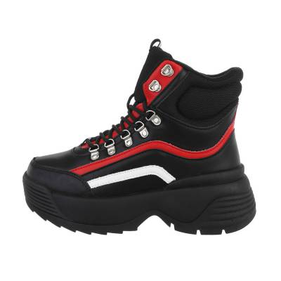 Sneakers high für Damen in Schwarz und Rot
