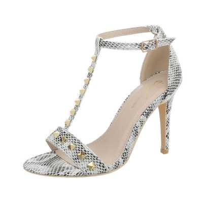 High Heel Sandaletten für Damen in Beige und Grau
