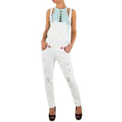Latzjeans für Damen in Weiß