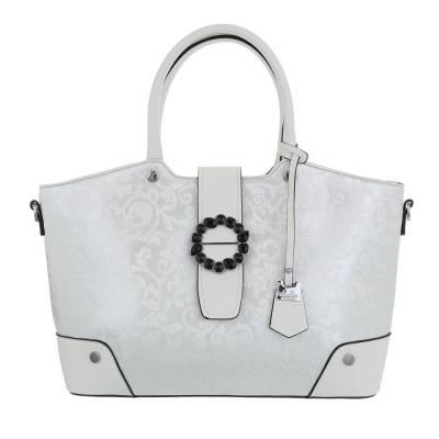 Große Damen Tasche Weiß Silber