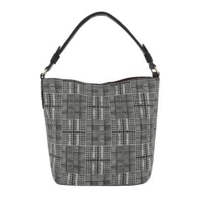 Mittelgroße Damen Tasche Grau Schwarz