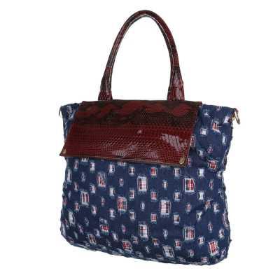 Große Damen Tasche Blau Rot