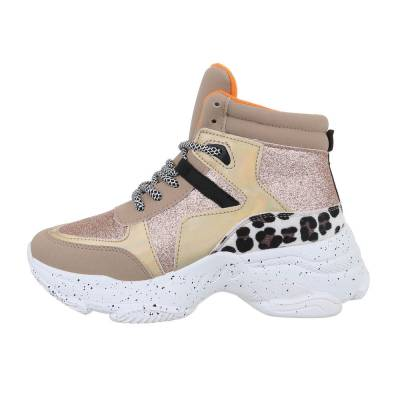 Sneakers high für Damen in Gold und Rosa