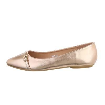 Klassische Ballerinas für Damen in Gold und Rosa