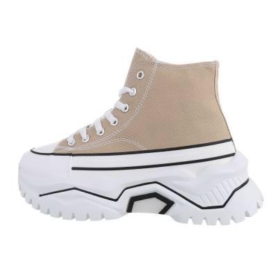 Sneakers High für Damen in Hellbraun und Weiß