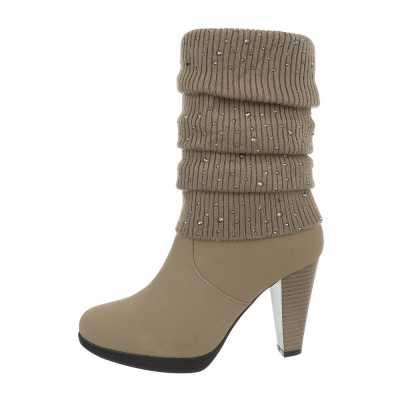 High Heel Stiefeletten für Damen in Beige und Braun