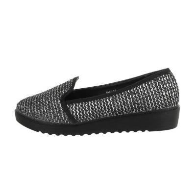 Slipper für Damen in Schwarz und Silber