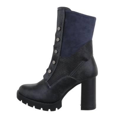 High Heel Stiefeletten für Damen in Grau und Blau