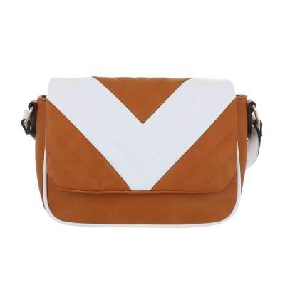 Kleine Damen Tasche Braun Weiß
