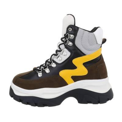 Sneakers high für Damen in Braun und Gelb