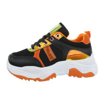 Sneakers low für Damen in Schwarz und Orange