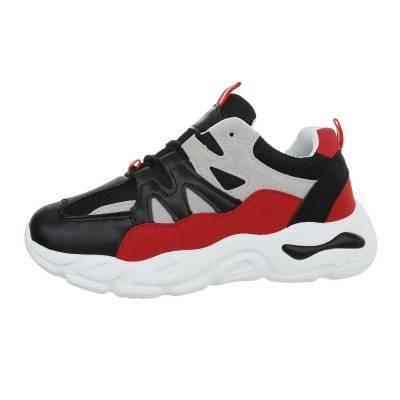Sneakers low für Damen in Schwarz und Rot