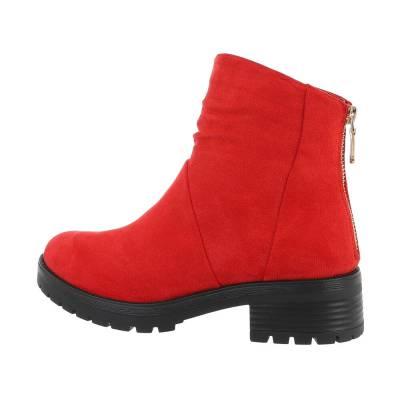 Flache Stiefeletten für Damen in Rot