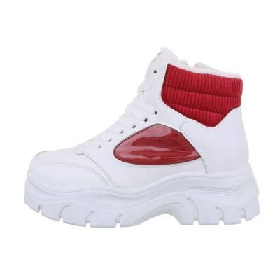 Sneakers high für Damen in Weiß und Rot