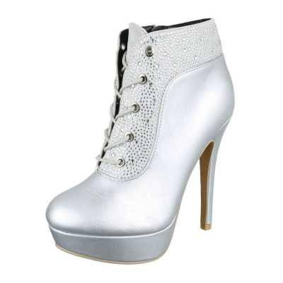 High Heel Stiefeletten für Damen in Silber