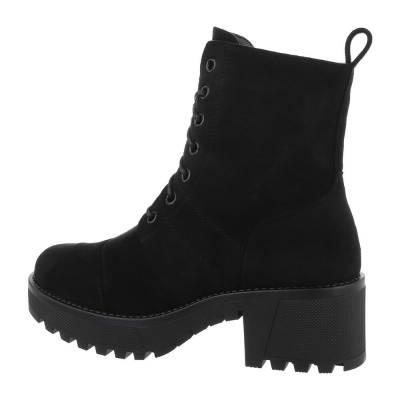 Schnürstiefeletten für Damen in Schwarz und Grau