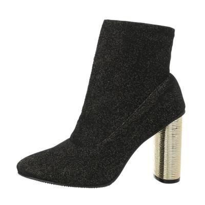High Heel Stiefeletten für Damen in Schwarz und Gold