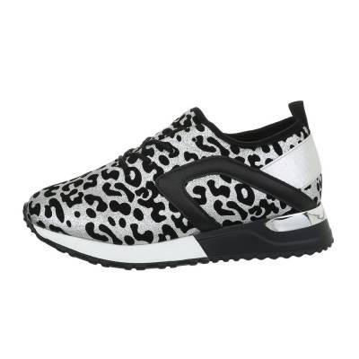 Sneakers low für Damen in Silber und Schwarz