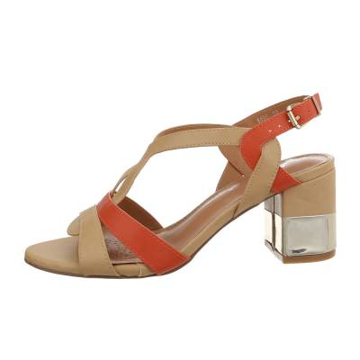 High Heel Sandaletten für Damen in Beige und Orange