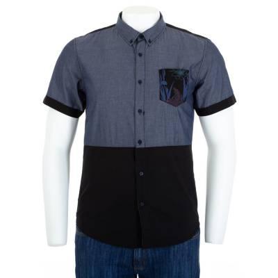 Hemd für Herren in Blau und Schwarz